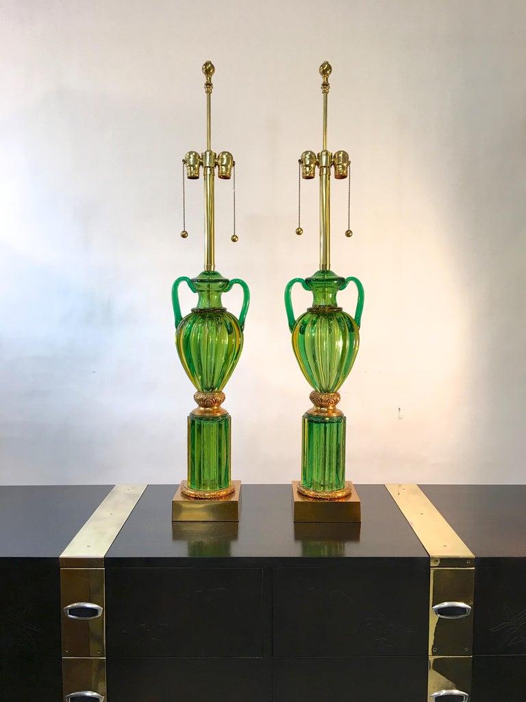 Hollywood Regency Pair of Seguso Murano Green Glass
