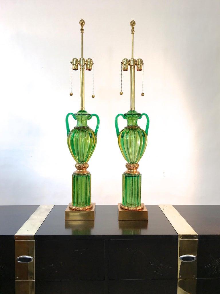 Polished Pair of Seguso Murano Green Glass