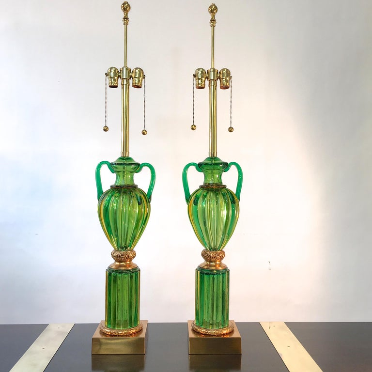 Mid-20th Century Pair of Seguso Murano Green Glass