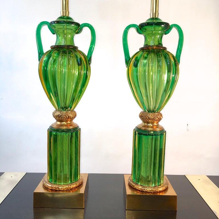 Brass Pair of Seguso Murano Green Glass