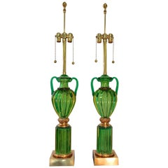 "Pair of Seguso Murano Green Glass ""Loving Cup"" Lamps by Marbro"