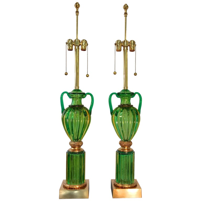 """Pair of Seguso Murano Green Glass """"Loving Cup"""" Lamps by Marbro For Sale"""