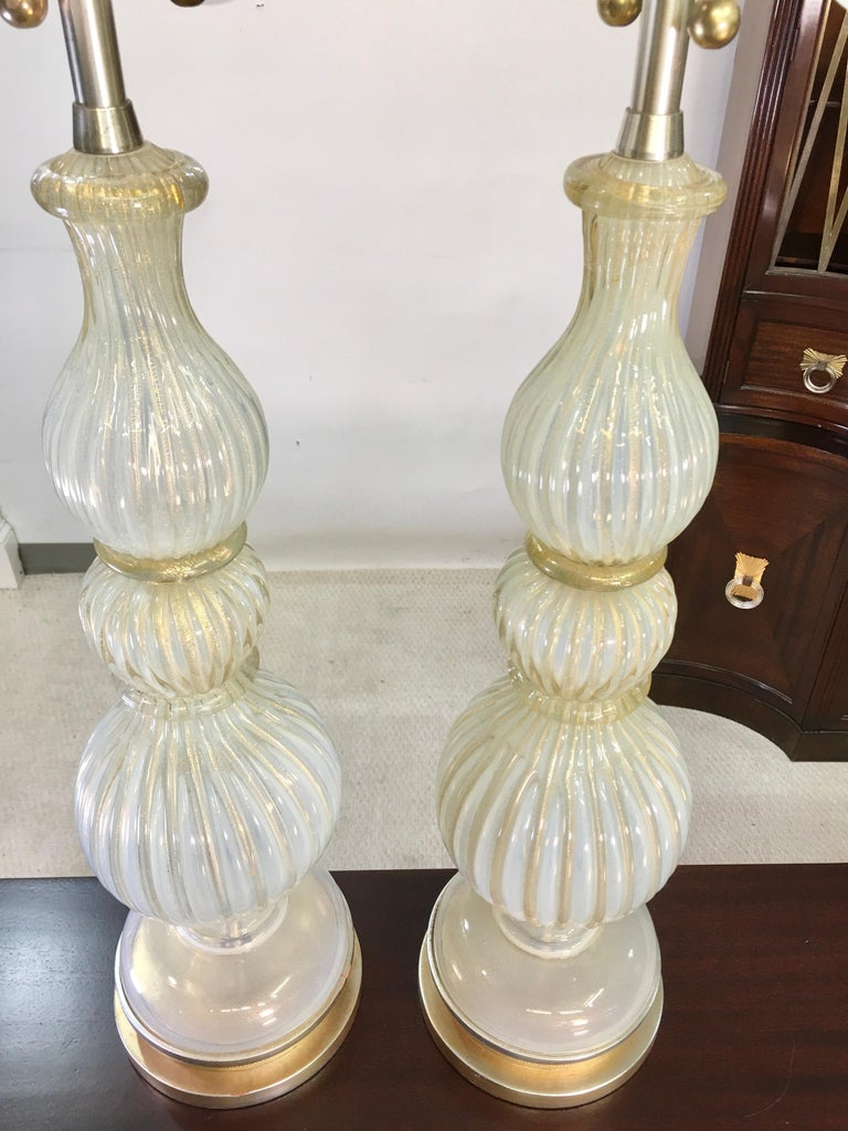 Pair of Seguso Murano Lamps by Marbro For Sale 3
