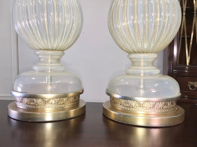 Pair of Seguso Murano Lamps by Marbro For Sale 4