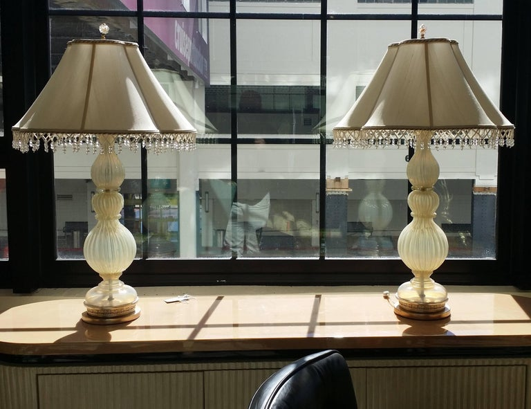 Pair of Seguso Murano Lamps by Marbro For Sale 6
