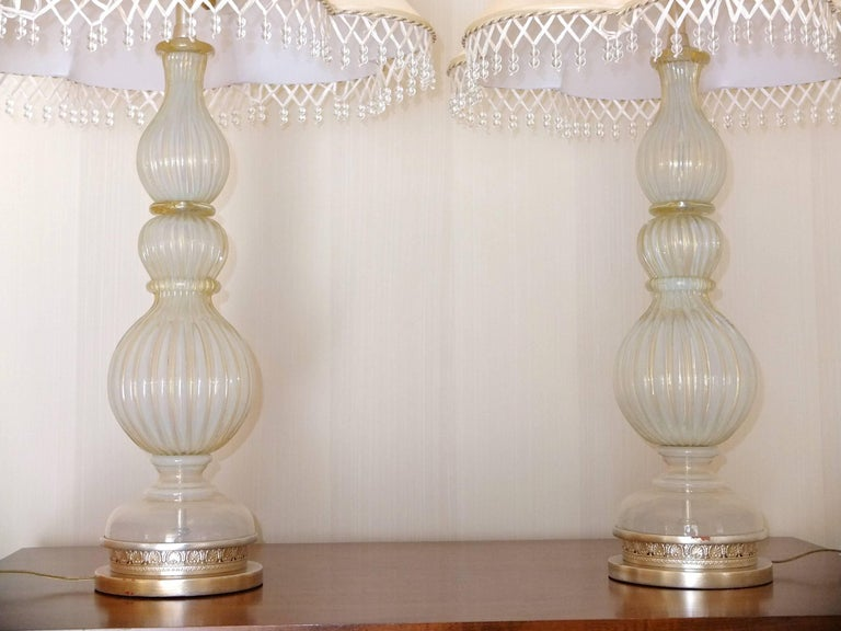 Pair of Seguso Murano Lamps by Marbro For Sale 7
