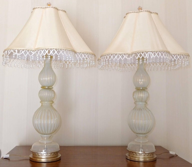 Pair of Seguso Murano Lamps by Marbro For Sale 8