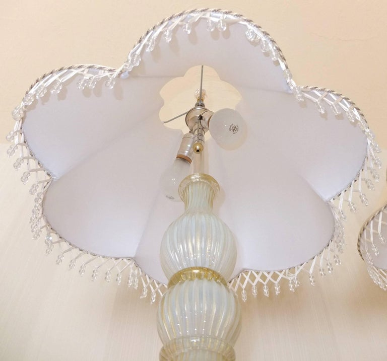 Pair of Seguso Murano Lamps by Marbro For Sale 11