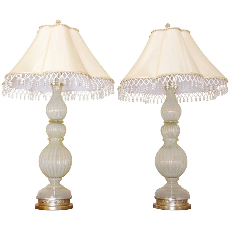 Pair of Seguso Murano Lamps by Marbro For Sale 13