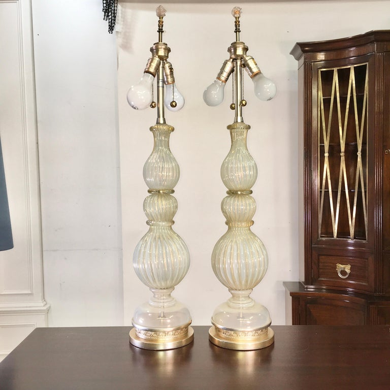 Mid-Century Modern Pair of Seguso Murano Lamps by Marbro For Sale