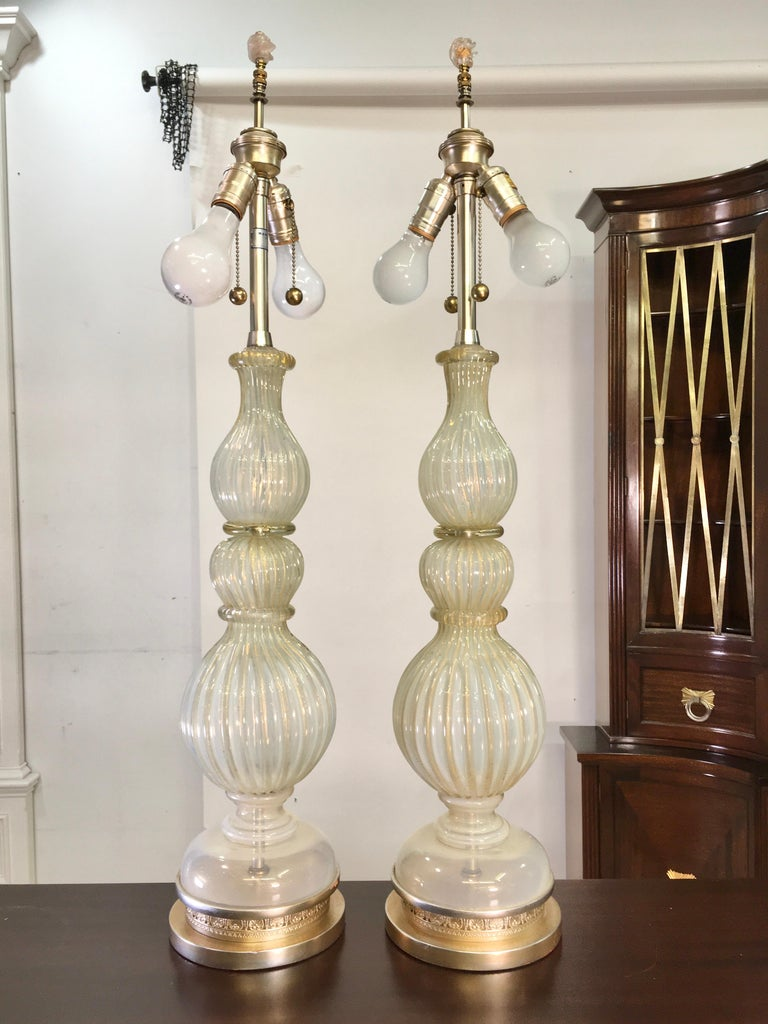 Pair of Seguso Murano Lamps by Marbro In Good Condition For Sale In Hingham, MA