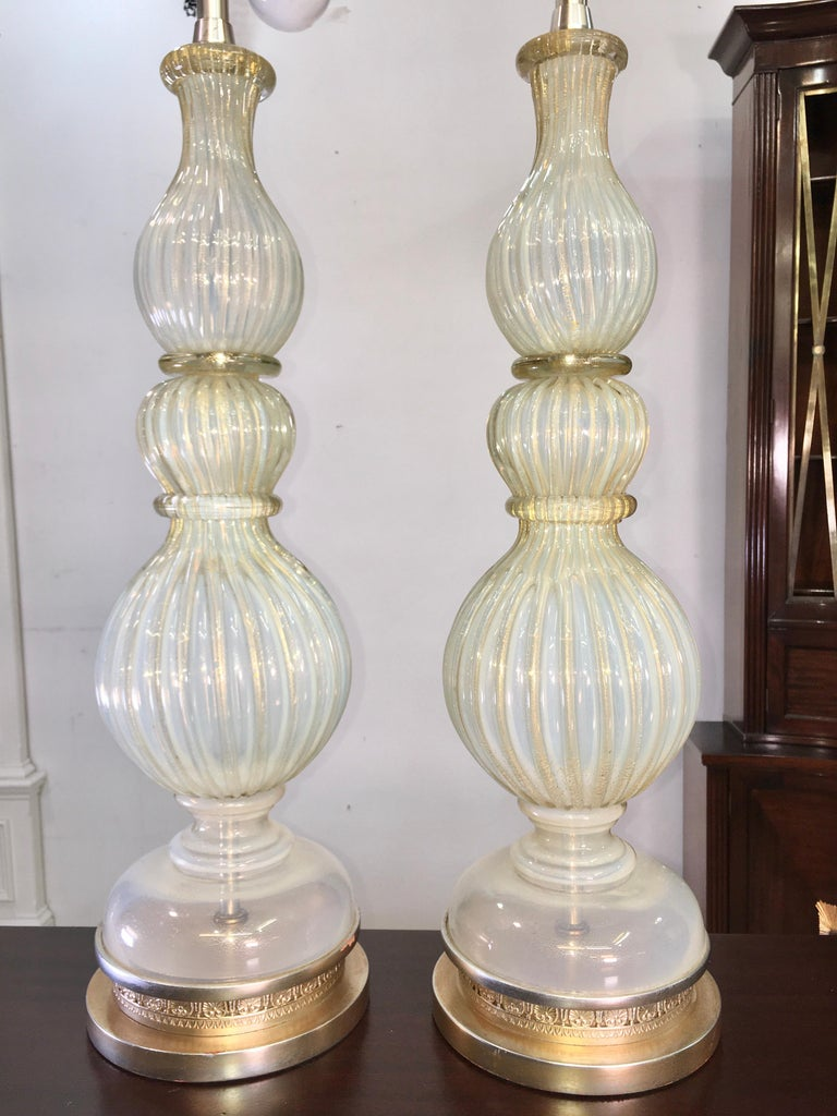 Mid-20th Century Pair of Seguso Murano Lamps by Marbro For Sale