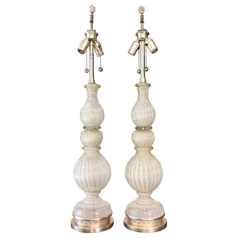 Pair of Seguso Murano Lamps by Marbro For Sale