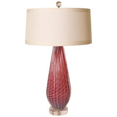 Pair of Seguso Pink Opalescent Murano Lamps, circa 1950