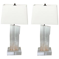 Pair of Selenite and Lucite Table Lamps