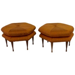 Pair of Selig hexagon form ottomans or Pouffe  as found originals