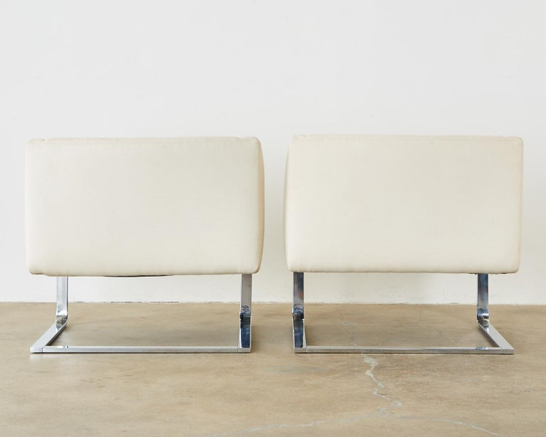 Pair of Selig Mid-Century Modern Cantilever Lounge Chairs For Sale 9