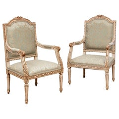 Pair of Semi Antique Louis XVI Style Painted Fauteuils