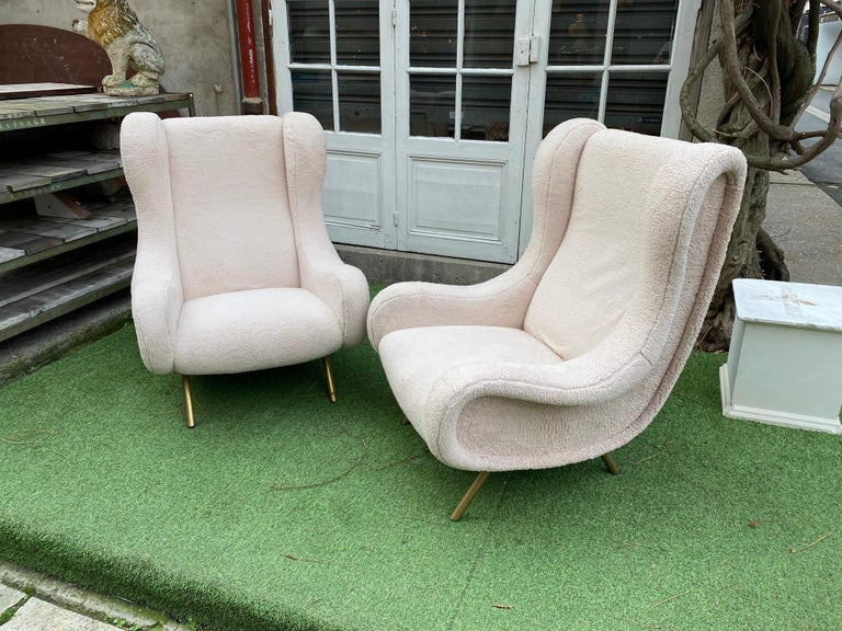 Italian Pair of Senior Armchairs by Marco Zanuso for Arflex, 1950s For Sale