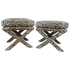 Pair of Sensational Mid-Century Modern Faux Leopard X Style Benches Ottomans