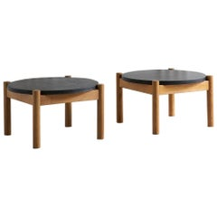 Pair of Sentou Wood and Granite Coffee Tables