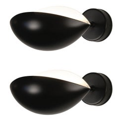 Pair of Serge Mouille, Mid Century Modern, Black Oeil Sconce Lamps