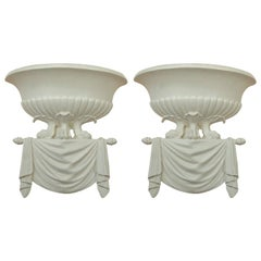 Pair of Serge Roche Style White Hand Carved Plaster Sconces
