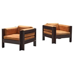 Pair of Sergio Asti 'Zelda' Lounge Chairs in Cognac Leather