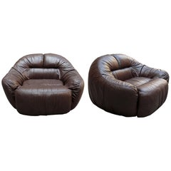 """Pair of Sergio Crippa Brown Leather """"Otaria"""" Armchairs for Neoflex, 1970s"""