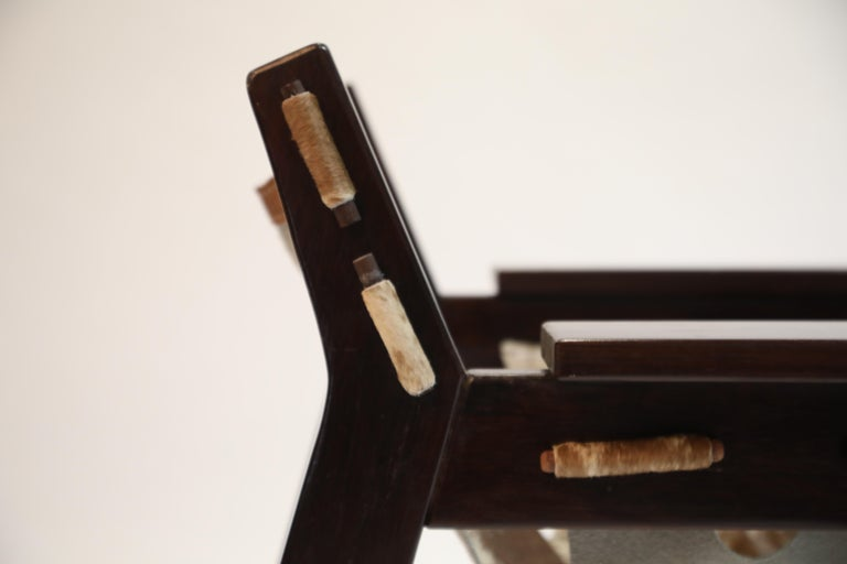Pair of Sergio Rodrigues Kilin Chairs in Rosewood and Cowhide, OCA, Brazil 1970s For Sale 8