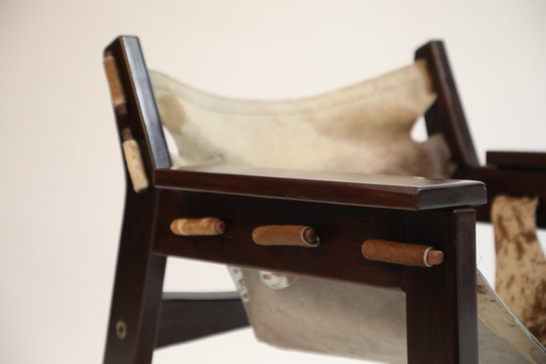 Pair of Sergio Rodrigues Kilin Chairs in Rosewood and Cowhide, OCA, Brazil 1970s For Sale 9