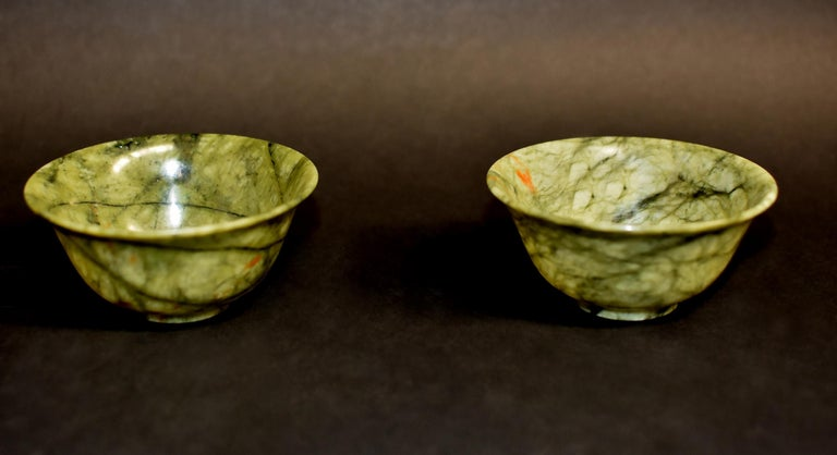 Pair of Serpentine Bowls Heaven and Earth For Sale 5