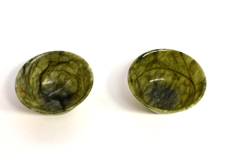 Pair of Serpentine Bowls Heaven and Earth For Sale 14