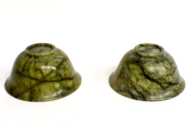 Pair of Serpentine Bowls Heaven and Earth For Sale 15