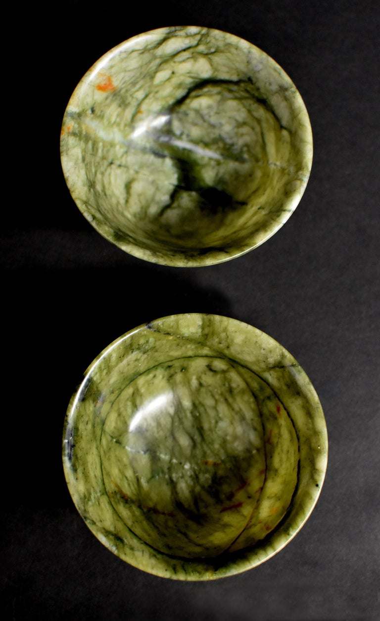 Chinese Pair of Serpentine Bowls Heaven and Earth For Sale