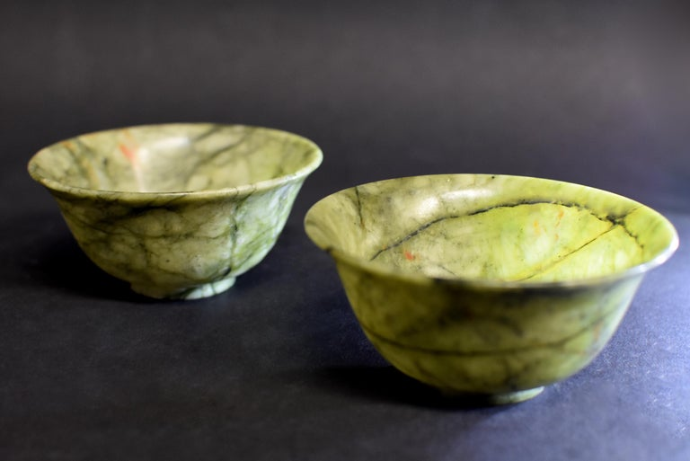 Contemporary Pair of Serpentine Bowls Heaven and Earth For Sale
