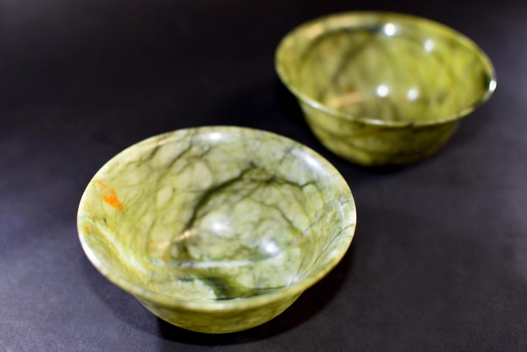 Pair of Serpentine Bowls Heaven and Earth For Sale 1