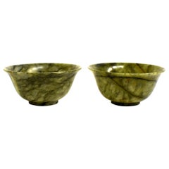 Pair of Serpentine Bowls Heaven and Earth