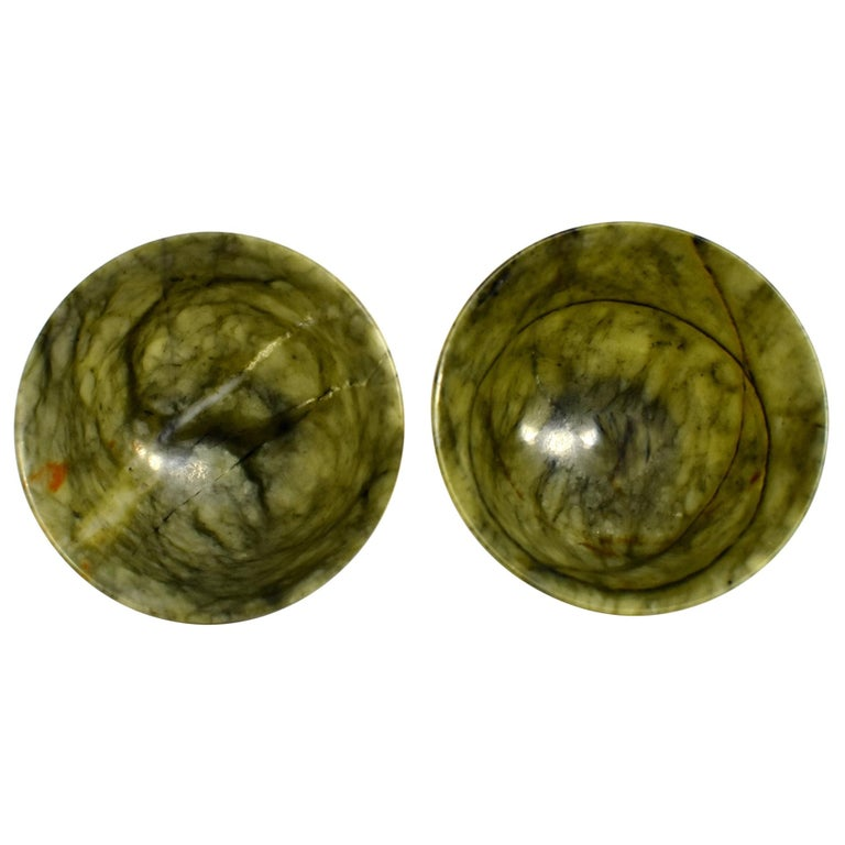 Pair of Serpentine Bowls Heaven and Earth For Sale
