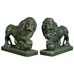 Pair of Serpentine Grand Tour Lions