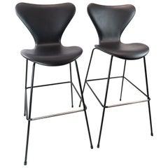 Pair of Seven Bar Stools, Model 3187/3197, by Arne Jacobsen and Fritz Hansen