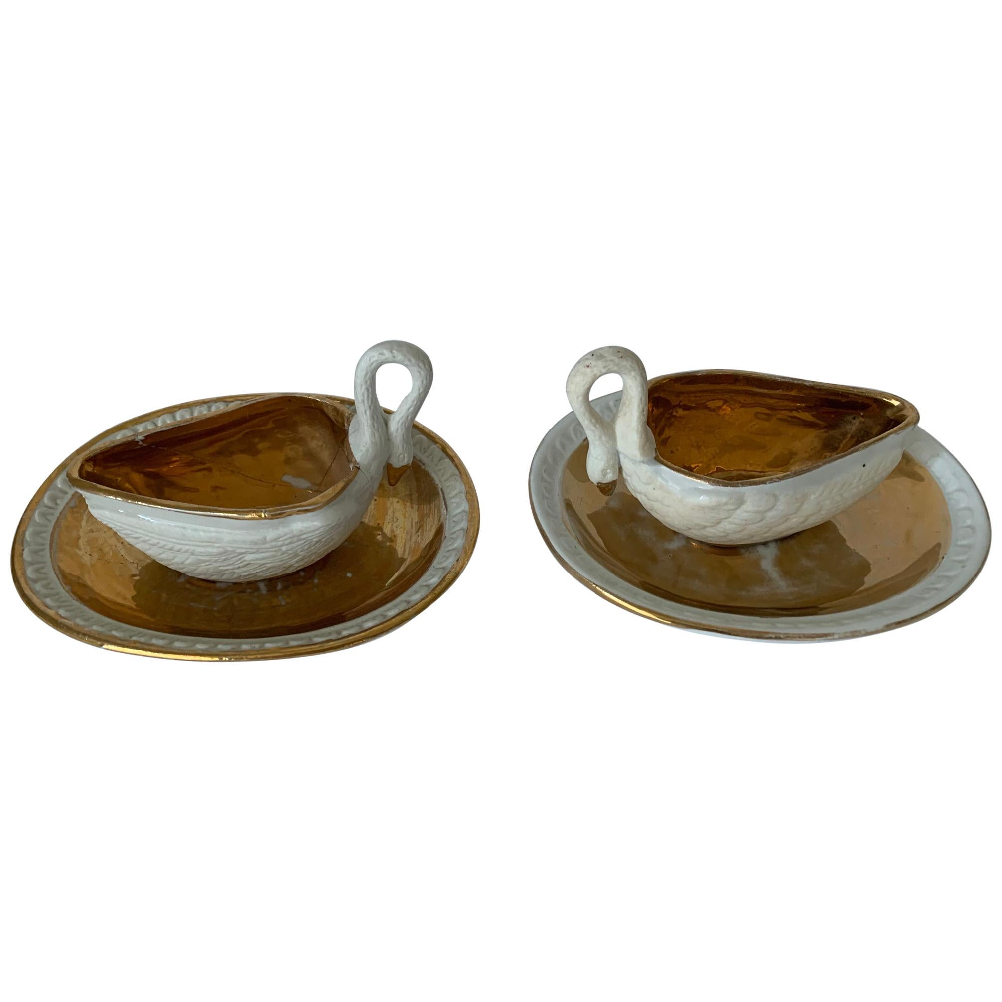 Pair of Sèvres Bisque Porcelain Swan Dishes and Saucers