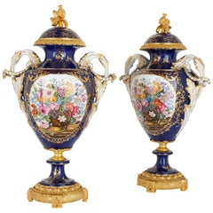 Pair of Sèvres Blue Rococo Style Porcelain and Gilt Bronze Vases