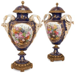 Pair of Sevres Blue Rococo Style Porcelain and Gilt Bronze Vases