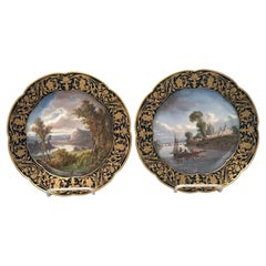Pair of Sevres Cabinet Plates Views of Normandy