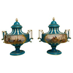 Pair of Sevres Hand Painted Turquoise Porcelain Lidded Urns