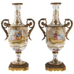 Pair of Sèvres Porcelain and Gilt Bronze Vases, Napoleon III Period