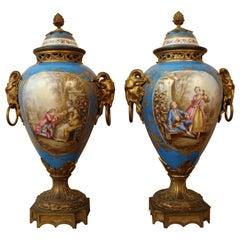 Pair of Sèvres Porcelain and Gilt Bronze Vases XIXth