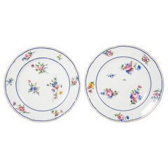 Pair of Sèvres Porcelain Dishes Painted with Delicate Flowers Made France