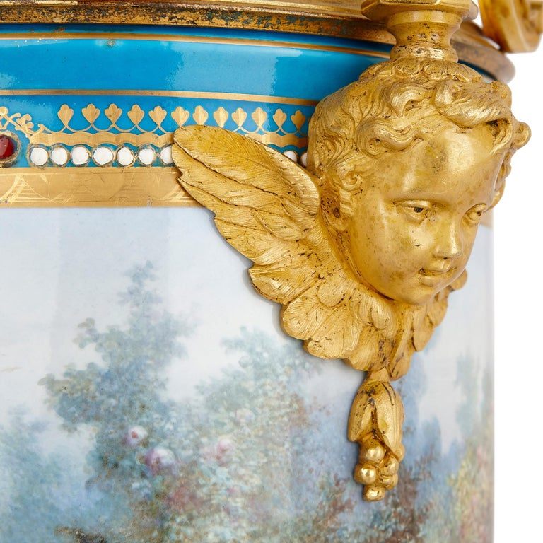 19th Century Pair of Sèvres Porcelain Vases with Gilt Bronze Mounts by Picard For Sale